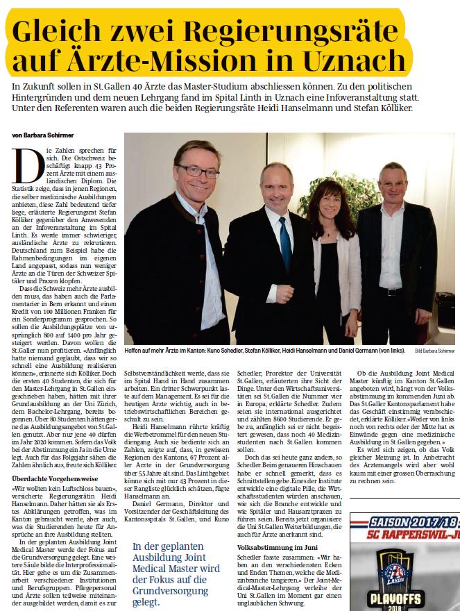 Regierungsräte auf Ärzte-Mission in Uznach (Donnerstag, 01.03.2018)