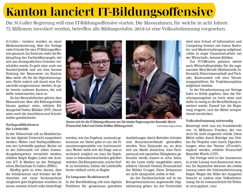 Kanton lanciert IT-Bildungsoffensive (Dienstag, 27.03.2018)